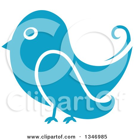 Clipart of a Retro Styled Blue Bird - Royalty Free Vector Illustration by Vector Tradition SM