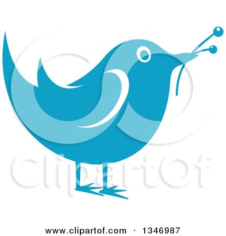 Clipart of a Retro Styled Blue Bird with Flower Buds - Royalty Free Vector Illustration by Vector Tradition SM