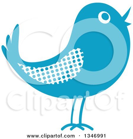 Clipart of a Retro Styled Blue Bird with a Polka Dot Wing - Royalty Free Vector Illustration by Vector Tradition SM