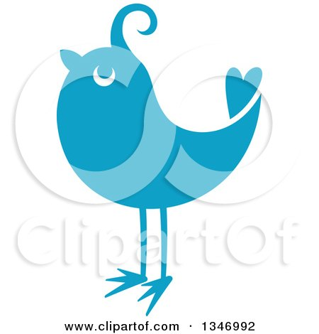 Clipart of a Retro Styled Blue Bird 2 - Royalty Free Vector Illustration by Vector Tradition SM