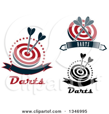 Clipart of Throwing Dart and Target Designs - Royalty Free Vector Illustration by Vector Tradition SM