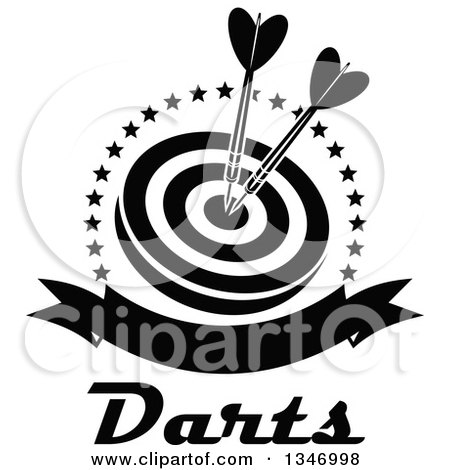 Clipart of Black and White Darts in the Bullseye of a Target, Within a Circle of Stars with a Blank Banner and Text - Royalty Free Vector Illustration by Vector Tradition SM