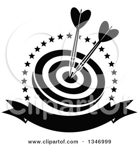 Clipart of Black and White Darts in the Bullseye of a Target, Within a Circle of Stars with a Blank Banner - Royalty Free Vector Illustration by Vector Tradition SM