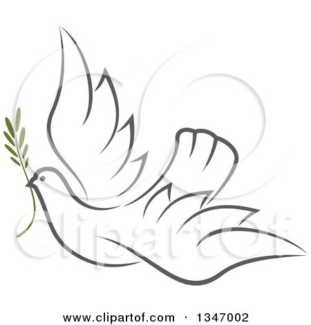 Clipart of a Sketched Gray Flying Peace Dove with a Branch - Royalty Free Vector Illustration by Vector Tradition SM