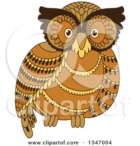 Clipart Of A Cute Brown Owl Royalty Free Vector Illustration