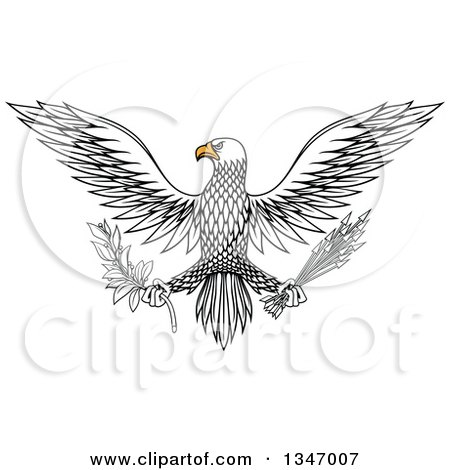 Clipart of a Flying White Eagle Holding a Peace Olive Branch and War Arrows - Royalty Free Vector Illustration by Vector Tradition SM
