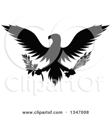 Clipart of a Flying Black Silhouetted Eagle Holding a Peace Olive Branch and War Arrows - Royalty Free Vector Illustration by Vector Tradition SM
