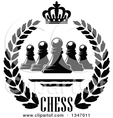 Clipart of a Black and White Chess Pawn, Crown and Text Wreath - Royalty Free Vector Illustration by Vector Tradition SM