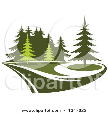 Clipart of a Park with Evergreen Trees 2 - Royalty Free Vector Illustration by Vector Tradition SM