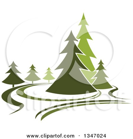 Clipart of a Park with Evergreen Trees 3 - Royalty Free Vector Illustration by Vector Tradition SM
