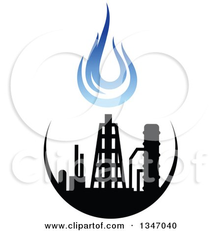 Clipart of a Black and Blue Natural Gas and Flame Design 24 - Royalty Free Vector Illustration by Vector Tradition SM
