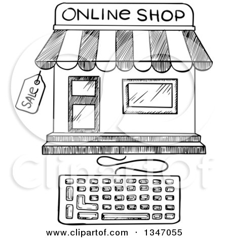 Clipart of a Black and White Sketched - Royalty Free ...