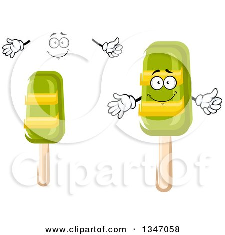 Clipart of a Cartoon Face, Hands and Lime Popsicles - Royalty Free Vector Illustration by Vector Tradition SM