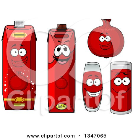 Clipart of a Happy Pomegranate Character, Cups and Juice Cartons 2 - Royalty Free Vector Illustration by Vector Tradition SM
