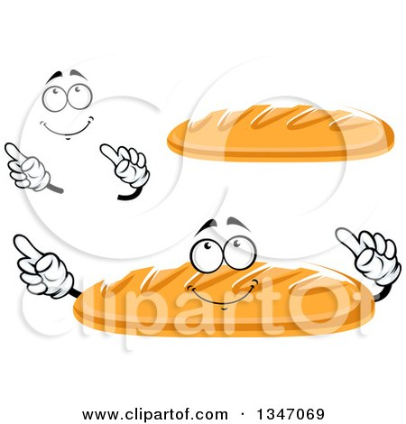 Clipart of a Cartoon Face, Hands and Baguette French Bread 2 - Royalty Free Vector Illustration by Vector Tradition SM