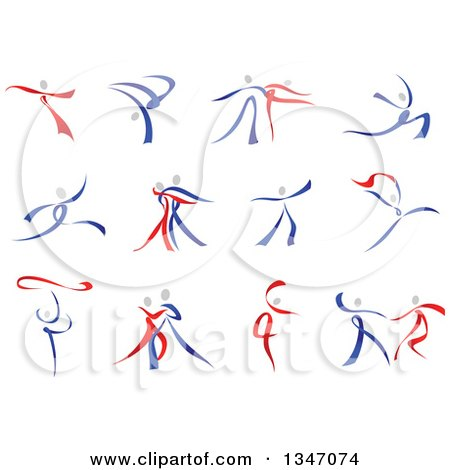 Clipart of Blue Gray and Red Ribbon Dancers - Royalty Free Vector Illustration by Vector Tradition SM
