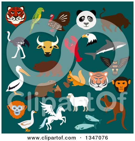 Clipart of Flat Design Wild Animals over Teal - Royalty Free Vector Illustration by Vector Tradition SM