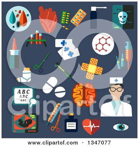 Clipart of a Flat Design Nurse and Medical Icons on Blue - Royalty Free Vector Illustration by Vector Tradition SM