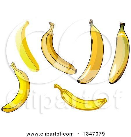 Clipart Of Cartoon Banana Characters Royalty Free Vector