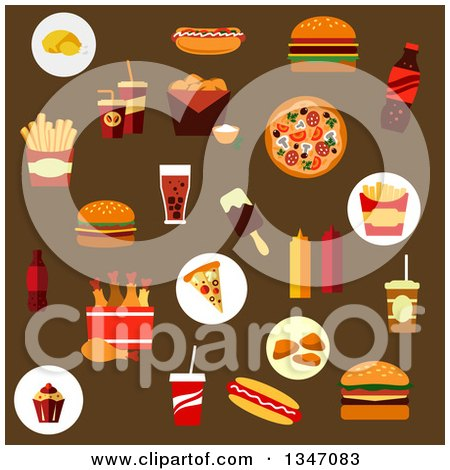 Clipart of Flat Design Fast Food Icons on Brown - Royalty Free Vector Illustration by Vector Tradition SM