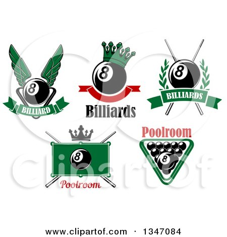 Clipart of Billiard Eightball Athletic Sports Designs with Text - Royalty Free Vector Illustration by Vector Tradition SM