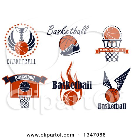 Clipart of Basketball Athletic Sports Designs with Text - Royalty Free Vector Illustration by Vector Tradition SM