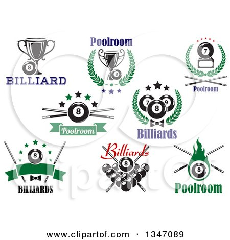 Clipart of Billiard Eightball Athletic Sports Designs with Text 2 - Royalty Free Vector Illustration by Vector Tradition SM