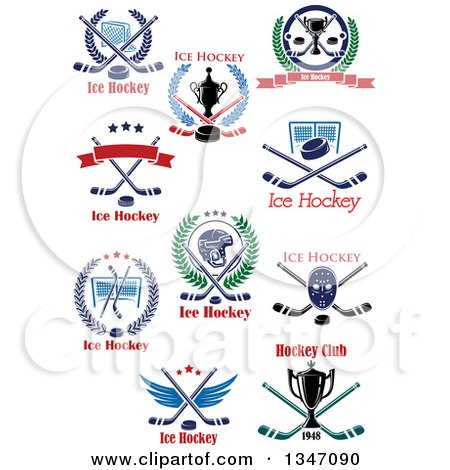 Clipart of Ice Hockey Athletic Sports Designs with Text - Royalty Free Vector Illustration by Vector Tradition SM