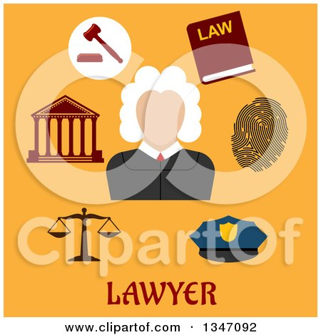Clipart of a Flat Design Male Judge Avatar with Legal Icons on Orange with Text - Royalty Free Vector Illustration by Vector Tradition SM