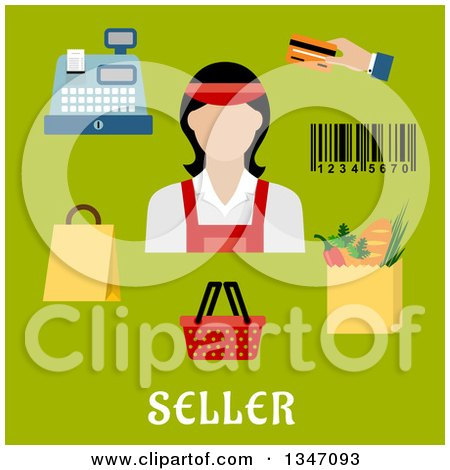 Clipart of a Flat Design Female Cashier Avatar with Retail Items and Text on Green - Royalty Free Vector Illustration by Vector Tradition SM