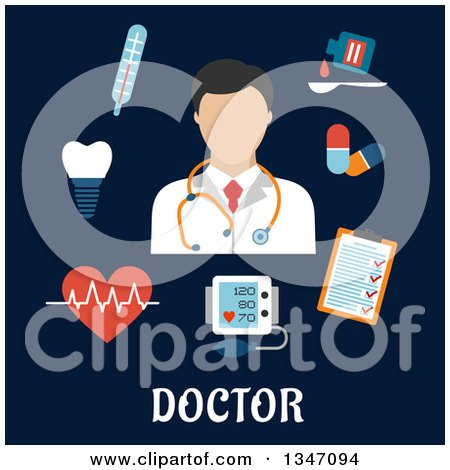Clipart of a Flat Design Male Doctor Avatar with Medical Items and Text on Blue - Royalty Free Vector Illustration by Vector Tradition SM