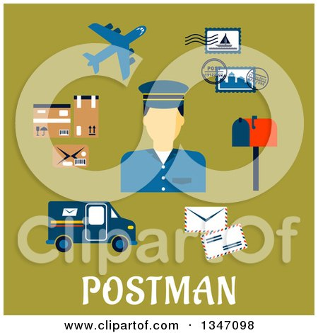 Clipart of a Flat Design Male Postman Avatar with Icons over Text on Green - Royalty Free Vector Illustration by Vector Tradition SM