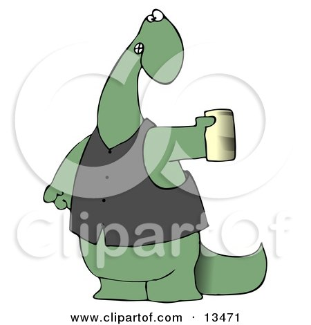 Green Dino in a Vest, Holding a Can of Beer Posters, Art Prints