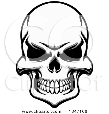 Clipart of Tough Grayscale Evil Human Skull - Royalty Free Vector Illustration by Vector Tradition SM