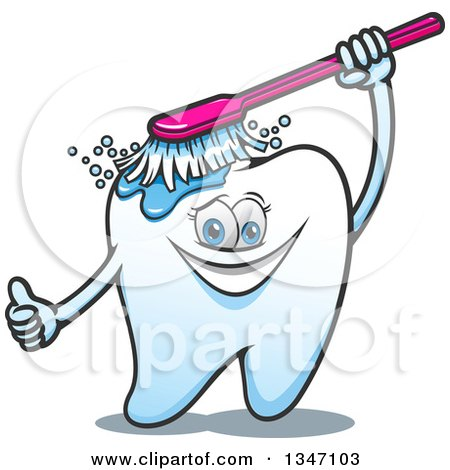 Clipart of a Cartoon Tooth Character Giving a Thumb up and Brushing Itself - Royalty Free Vector Illustration by Vector Tradition SM