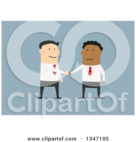 Clipart of a Flat Design of Happy White and Black Business Men Shaking Hands on a Deal, over Blue 2 - Royalty Free Vector Illustration by Vector Tradition SM