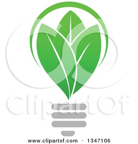 Clipart of a Green Leaf Light Bulb 2 - Royalty Free Vector Illustration by Vector Tradition SM