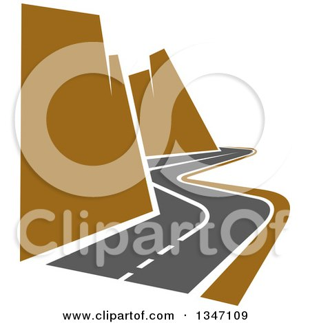 Clipart of a Curving Two Lane Road with Canyon Cliffs - Royalty Free Vector Illustration by Vector Tradition SM