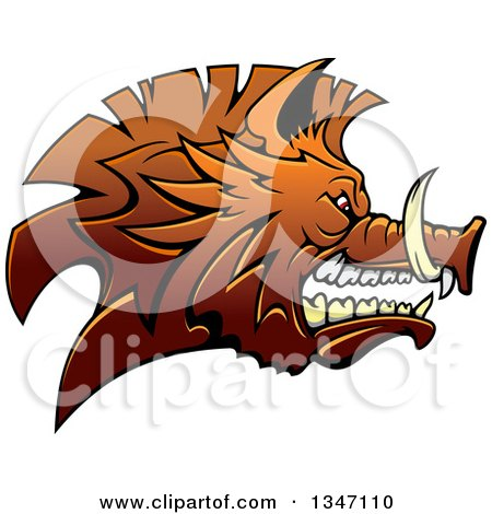 Clipart of a Snarling Vicious Brown Razorback Boar Mascot Head in Profile - Royalty Free Vector Illustration by Vector Tradition SM