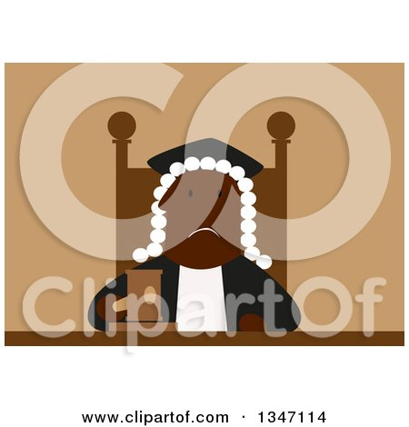 Clipart of a Flat Design Tired and Unhappy Black Male Judge - Royalty Free Vector Illustration by Vector Tradition SM