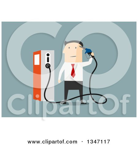 Clipart of a Flat Design White Businessman Holding a Gas Pump Nozzle, over Blue - Royalty Free Vector Illustration by Vector Tradition SM
