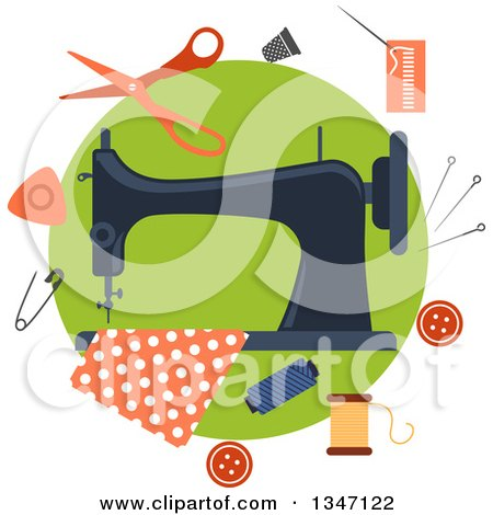 Clipart of a Sewing Machine with Fabric and Accessories over Green - Royalty Free Vector Illustration by Vector Tradition SM