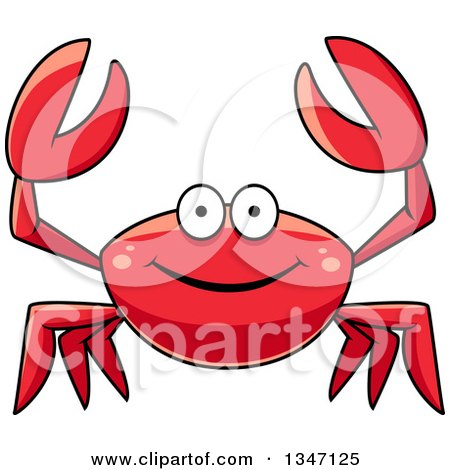 Clipart of a Cartoon Happy Red Crab Holding up His Claws - Royalty Free Vector Illustration by Vector Tradition SM