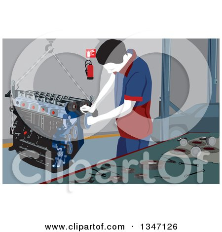 Clipart of a Male Mechanic Working on a Car Engine in a Garage - Royalty Free Vector Illustration by David Rey