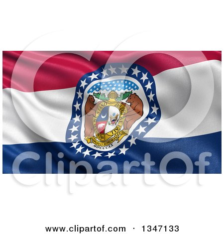 Clipart of a 3d Rippling State Flag of Missouri, USA - Royalty Free Illustration by stockillustrations