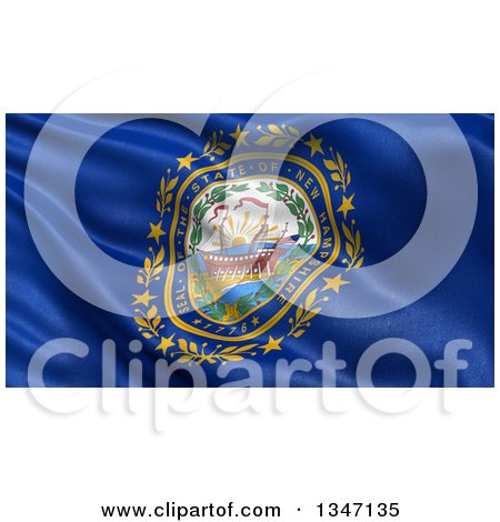 Clipart of a 3d Rippling State Flag of New Hampshire, USA - Royalty Free Illustration by stockillustrations