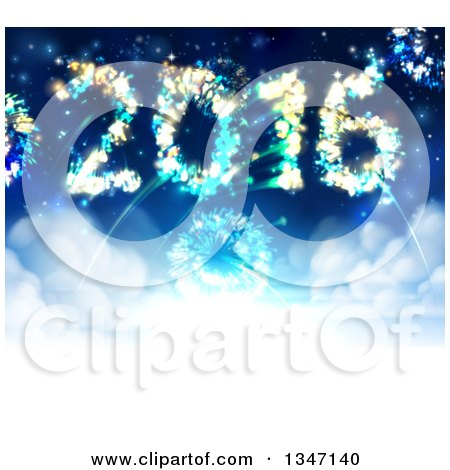Clipart of 2016 Shaped New Year Fireworks in the Sky - Royalty Free Vector Illustration by AtStockIllustration