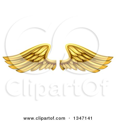 Clipart of a Pair of 3d Metal Gold Wings - Royalty Free Vector Illustration by AtStockIllustration