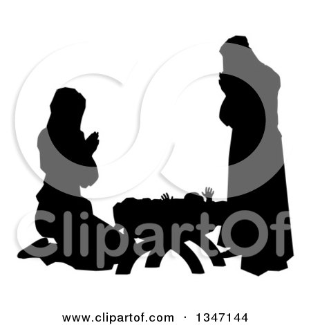 Clipart of a Black and White Silhouetted Mary and Joseph Praying over Baby Jesus - Royalty Free Vector Illustration by AtStockIllustration