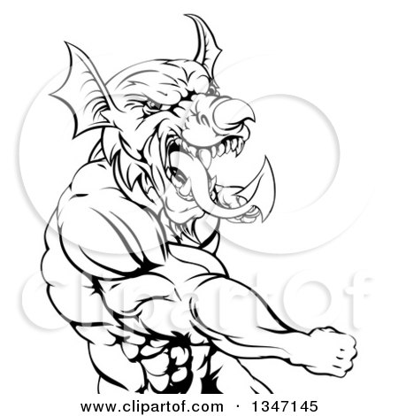 Clipart of a Black and White Muscular Fighting Welsh Dragon Man Punching - Royalty Free Vector Illustration by AtStockIllustration
